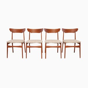 Sedie da pranzo Mid-Century in teak e lana di Schiønning & Elgaard, Danimarca, anni '60, set di 4