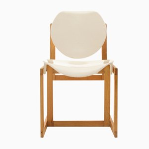 Chaise Vintage en Bois et en Plastique Blanc, Italie, 1970s