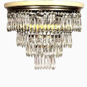 Plafonnier Art Nouveau avec Prismes en Cristal