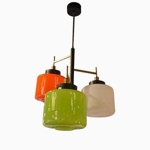 Italian Colored Opaline Glass Chandelier by Bruno Gatta for Stilnovo, 1960s