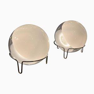 Sphärische Glas Tischlampen von Angelo Mangiarotti, 1970er, 2er Set