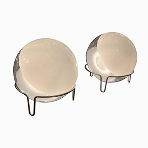 Spherical Glass Table Lamps by Angelo Mangiarotti, 1970s, Set of 2