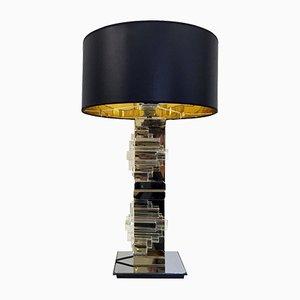 Lámpara de mesa vintage de latón, metal cromado y vidrio de Gaetano Sciolari para Sciolari