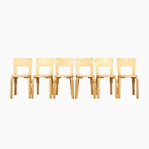 Vintage Modell 66 Esszimmerstühle von Alvar Aalto für Artek, 6er Set