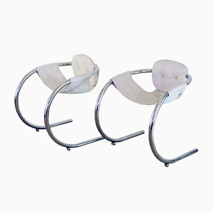Vintage Italian Chromed Tubular Steel and White Leather Armchairs from T70, Set of 2
