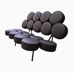 Mid-Century Black Marshmallow Sofa by George Nelson