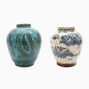 Jarrónes estilo Oriente Medio antiguos de cerámica. Juego de 2