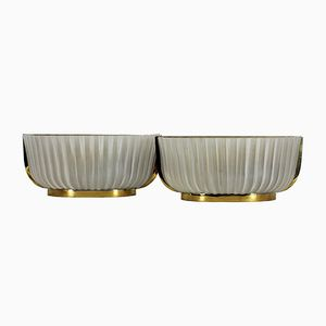 Art Deco Pressed Glass Wall Lights, 1930s, Set of 2