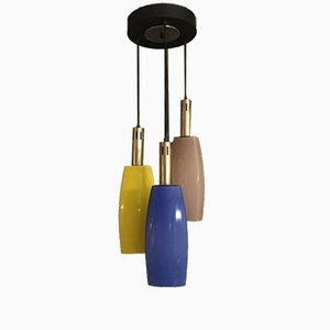 Lámpara colgante de vidrio colorido de Stilnovo, años 50