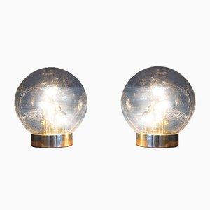 Lampade da tavolo Sputnik vintage sferiche in vetro di Doria, set di 2