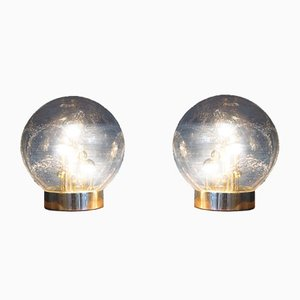 Vintage Sputnik Spherical Glass Table Lamps from Doria, Set of 2