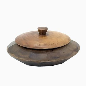 Circular Wooden Tobacco Box, 1950s