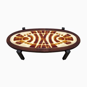 Oval Tile Top Coffee Table, 1960s