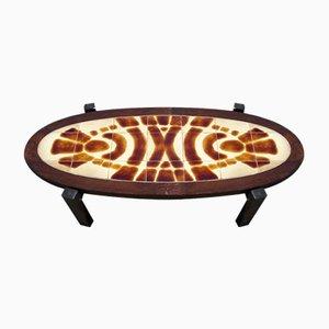 Tavolino da caffè ovale con piastrelle, anni '60