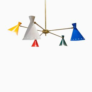 Mid-Century Italian Chandelier with Muliticolored Shades from Stilnovo