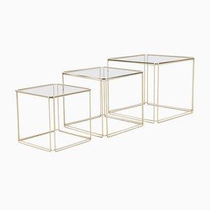 Tables Gigognes Mid-Century Moderne en Métal et en Verre par Max Sauze