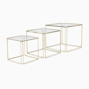 Tavolini a incastro Mid-Century moderni in metallo e vetro di Max Sauze
