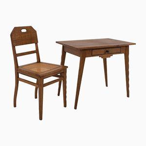 Table Art Déco et Chaise Ecole d'Amsterdam par Paul Bromberg pour Pander, 1920s