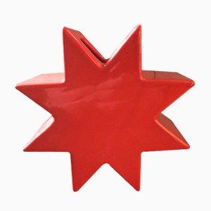 Jarrón estrella roja de cerámica de Sottsass