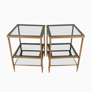 Tavolini in acciaio nichel dorato con tre vassoi in vetro, set di 2