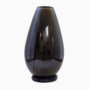 Italian Black Murano Glass Vase, 1950s