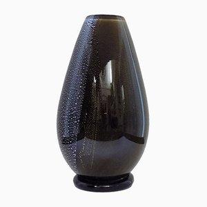 Vaso in vetro di Murano nero, Italia, anni '50