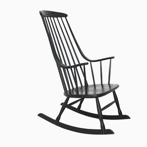 Black Beech Grandessa Rocking Chair by Lena Larsson for Nesto, 1960s