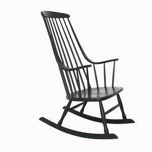 Sedia a dondolo Grandessa nera di Lena Larsson per Nesto, anni '60