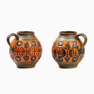 Vintage Glazed Ceramic Jugs, Set of 2