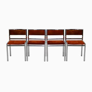 Mid-Century Dining Chairs in Tubular Chrome and Leather, Set of 4