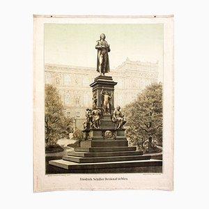 Cromolitografía que representa el monumento de Friedrich Schiller en Viena, 1899