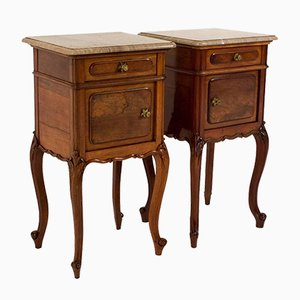 Louis XIV Nightstands with Original Marble Tops, Set of 2