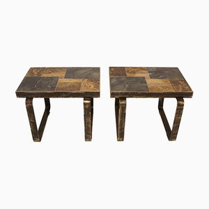 Vintage Brutalist Occasional Tables, Set of 2