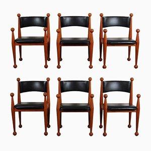 Chaises de Salon Mid-Century en Teck Massif et Cuir par Cado, Danemark, Set de 6