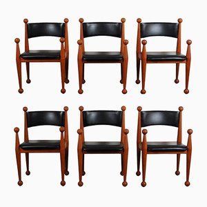 Dänische Mid-Century Esszimmerstühle aus Massivem Teak & Leder von Cado, 6er Set