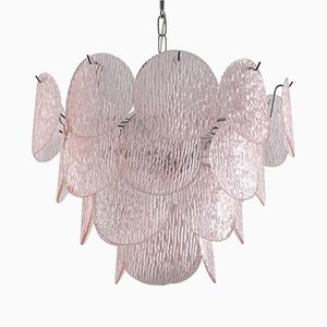 Chandelier with Pink Murano Glass Shells from Vistosi, 1970s