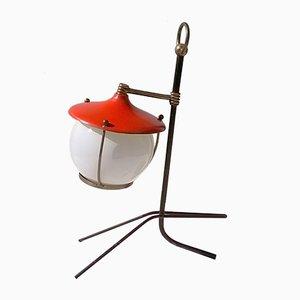 Lámpara de mesa trípode italiana en rojo, años 50