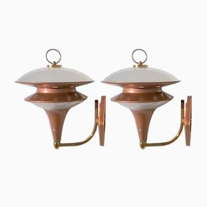 Italienische Glas Wandlampen, 1960er, 2er Set
