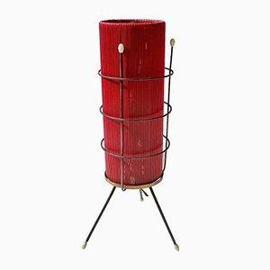 Lámpara de mesa italiana de plástico rojo, años 50