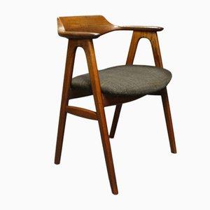 Dänischer Armlehnstuhl aus Teak mit Wollbezug
