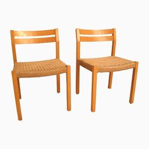 Chaises de Salon en Osier par Niels O. Møller, Set de 2
