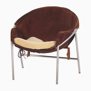 Silla Sling danesa de gamuza marrón de Erik Jørgensen para Bovirke, años 50