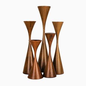 Dänische Moderne Handgefertigte Kerzenständer von Rude Osolnik, 1970er, 5er Set