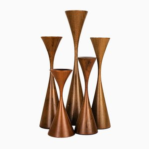 Danish Modern Handmade Walnut Candlesticks from Rude Osolnik, 1970s, Set of 5