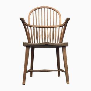 Sedia Windsor CH 18A con schienale alto in quercia di Frits Henningsen per Carl Hansen & Søn, anni '30