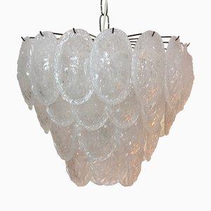 Lámpara de araña con hojas de cristal de Murano escarchado de A.V. Mazzega, años 70