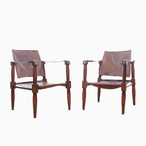 Safari Chairs in Beech, 1940s, Set of 2