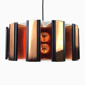 Lampe à Suspension en Cuivre par Werner Schou pour Coronell Electro, 1960s