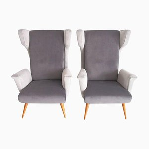 Mid-Century Modern Italian Armchairs in Grey Velvet, Set of 2