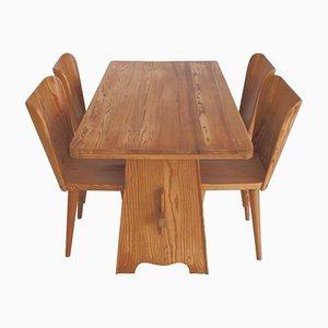 Tavolo da pranzo e quattro sedie di Göran Malmvall per Karl Andersson & Söner, anni '40
